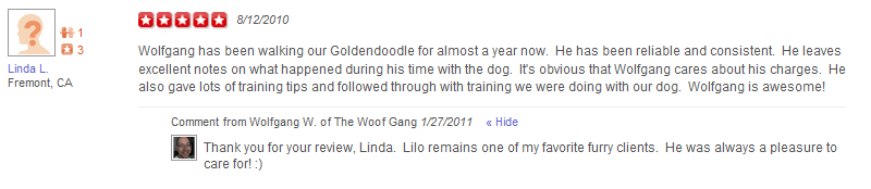 The Woof Gang - Yelp Review 2